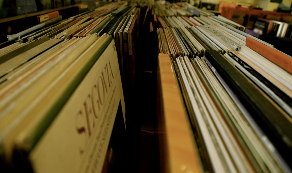records inside a music store