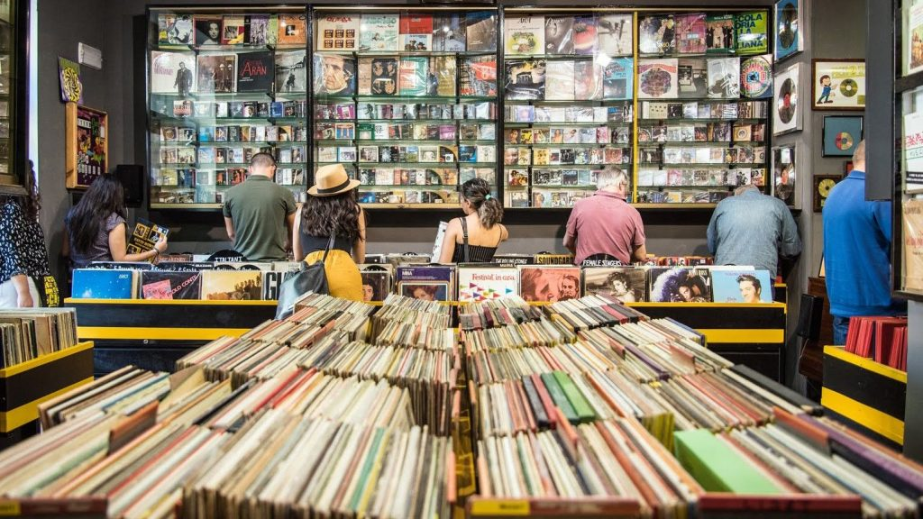 people in a record store